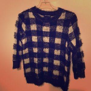 Cable & Gauge Fuzzy Buffalo Plaid Sweater